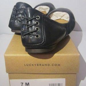 NIB Lucky Brand Echo 2 Black Leather Shoes  Sz 7M